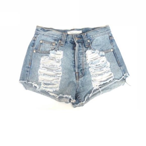 MINKPINK Pants - Mink Pink High Waisted Distressed Denim Shorts